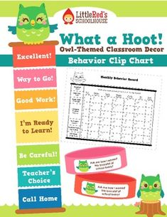 """A cute class behavior clip chart in our owl theme. Includes a clip chart (finished size roughly 10"""" x 42""""), a monthly calendar for students to record their daily accomplishments, and wear-home brag bracelets. (""""Ask me how I earned this bracelet at school today"""")."""