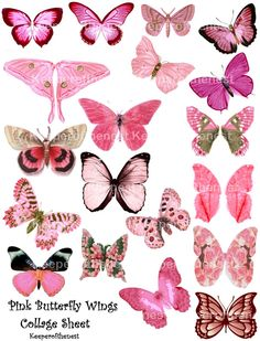 Pink Butterfly Fairy Wings Digital Collage Sheet Altered Art Mixed Media ACE0 ATC. $3.75, via Etsy.