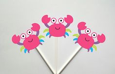 Crab Cupcake Toppers, Girl Crab Cupcake Toppers, Pink Crab Cupcake Toppers by CraftyCue on Etsy