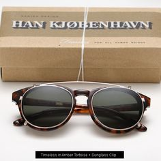 Han Timeless sunglasses - Amber Tortoise with Sunglass clip