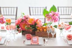 spring-wedding-reception-centerpiece-pink-peach-wedding-flowers__full - Oh Lovely Day Cute Wedding Dress, Fall Wedding Dresses, Wedding Flowers, Spring Weddings, Garden Weddings, Beach Weddings, September Weddings, April Wedding, Wedding Scene