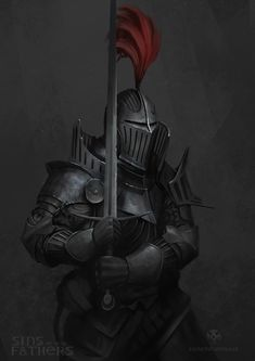 it was an art challenge,. zombie knights, but i have a graphic novel that i am working on and decided this is something that i can use later on, so guess we will have to wait and see. Red Knight, Knight Art, Medieval Knight, Medieval Fantasy, Medieval Armor, Female Character Design, Character Art, Armor Concept, Concept Art