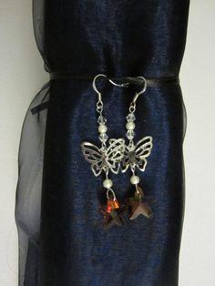 Papillons de topaze - Boucles d'oreille fait main en verre, cristal et métal argenté  Homemade french fashion jewelry for women