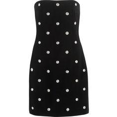Versus Versace - Embellished Crepe Mini Dress ($269) ❤ liked on Polyvore featuring dresses, black, crepe dress, mini dress, embellished short dress, short dresses and embelished dress