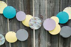 Yellow, Teal & Grey Gender Neutral Baby Shower #baby #shower #garland #banner #decor