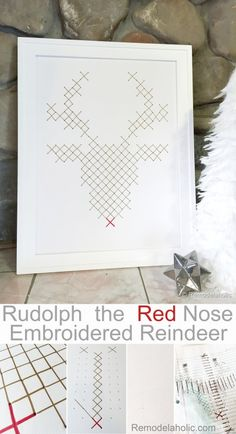 Rudolph Faux Embroidery Art Tutorial by @Remodelaholic #12days72ideas