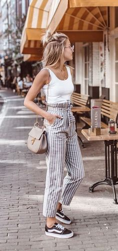 High waisted stripped pants with tank top