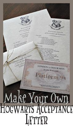 Projects - Make Your Own Hogwarts Acceptance Letter #DIY