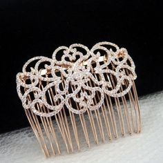 Cubic Zirconia Rose Gold hair comb
