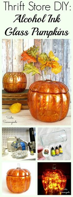 Upcycling a clear glass pumpkin jar using alcohol ink paint for DIY repurposed autumn and fall decor by Sadie Seasongoods / www.sadieseasongoods.com