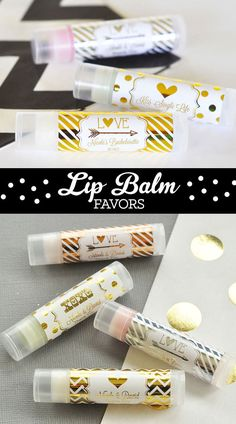 the bachelorette party favors black and gold bachelorette ideas personalized wedding lip balm favors