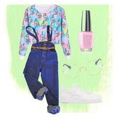 """""""Happy pink"""" by redhead-from-denmark on Polyvore featuring OPI, NIKE, WithChic and Ray-Ban"""