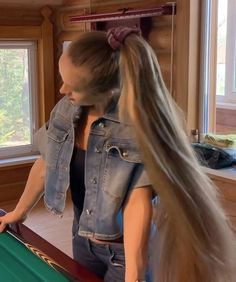 Long Hair Ponytail, Bun Hairstyles For Long Hair, Long Hair Play, Very Long Hair, Playing With Hair, Hair Buns, Pool Table, Great Videos, Her Smile