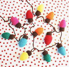 Mesmerizing Crochet an Amigurumi Rabbit Ideas. Lovely Crochet an Amigurumi Rabbit Ideas. Christmas Lights Garland, Crochet Christmas Ornaments, Holiday Crochet, Christmas Knitting, Crochet Home, Handmade Christmas, Holiday Lights, Light Garland, Xmas Lights