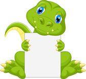 Cute dinosaur cartoon holding blank sign — Stock Vector