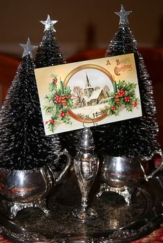 bottle brushes and silver tea set. I am liking it. Old Christmas, Old Fashioned Christmas, Merry Little Christmas, Vintage Christmas Cards, Christmas Is Coming, Country Christmas, Christmas Pictures, Family Christmas, Christmas Crafts
