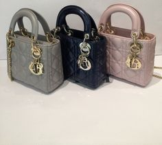 31f6be49785a Dior Grey Black Pink Lady Dior with Chain Mini Bags Dior Mini Bag