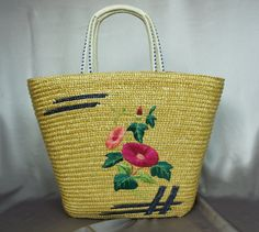 Fabulous Asian floral bag straw tote straw beach bag by PurseFancy