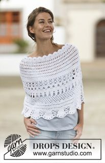 "Crochet DROPS poncho with lace pattern in ""Belle"". The piece is worked top down. Size: S - XXXL. ~ DROPS Design"