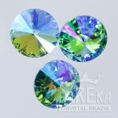 1122 12mm Rivoli AQUAMARINE GLACIER BLUE | Eureka Crystal Beads
