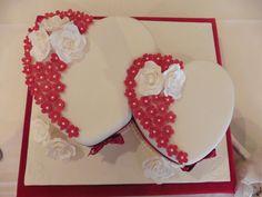"Double Heart Wedding Cake - 10"" fruit and 8"" vanilla sponge #cavendishcakes"