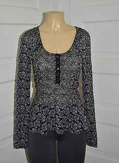 WOMENS LONG SLEEVE GRAY FLORAL BLOUSE BY FREE PEOPLE szS