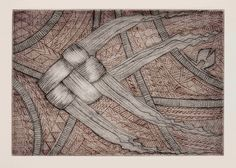 Woven fish 1  by Brian Robinson ~ Aboriginal artist, Australia  Dry point printed in two colours from one plate