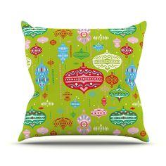 "Miranda Mol ""Ornate Green"" Ornaments Throw Pillow from KESS InHouse"