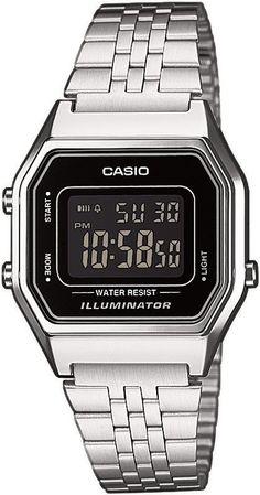Casio Classic LA680WEA-1B LA680WEA-1BEF, Casio Silver & Black Retro Digital Watch for women - watch shop mens, black watches for men, cool mens watches *ad