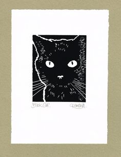 Black Cat- Linocut Original hand pulled Relief Print by Little Ram Studio