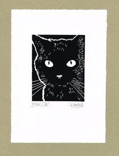Black Cat  Linograbado mano tirado impresión de alivio