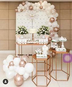 First Communion Decorations, Wedding Balloon Decorations, Birthday Party Decorations, Birthday Parties, Baptism Party, Baptism Favors, Art Festa, Ideas Bautizo, Graduation Flowers