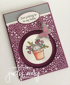 the Catty - Everyday Occasions Stampin' Up! Circle Spinner card for - Judy May, Just Judy DesignsStampin' Up! Circle Spinner card for - Judy May, Just Judy Designs Fun Fold Cards, Cool Cards, Pretty Cats, Pretty Kitty, Slider Cards, Bee Cards, Interactive Cards, Scrapbook Cards, Scrapbooking