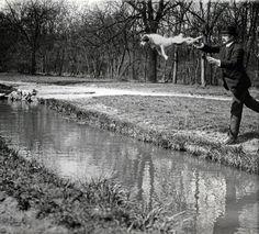 Bois de Boulogne , Monsieur Folletete avec son chien Tupy par   Jacques-Henri Lartigue  , Paris, 1912.
