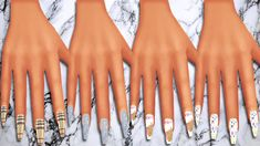 """danseswaifu: """" Do It Look Like I'm Left Off Bad & Boujee? Coffin nail recolors I did because i noticed we didn't have much variety in this nail type. So i wanted to add in some bright designs for. Sims 4 Teen, Sims Four, Sims 4 Toddler, Sims Cc, Star Citizen, Sims 4 Nails, Cc Nails, Sims 4 Cheats, Sims 4 Piercings"""