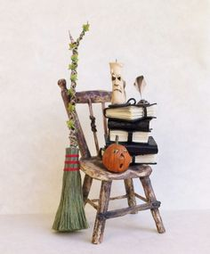 D/house Miniature Rustic Witch Chair 1/12th H/made Witch / Wizard