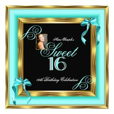 Sweet 16 Teal Blue Gold Photo 16th Birthday Party Card