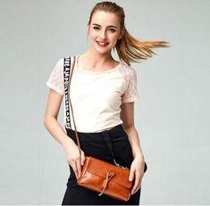 Casual Stylish Woman With Brown Traditional Messenger Bag- Side View Womens Messenger Bag, Small Crossbody Bag, Shoulder Handbags, Timeless Fashion, Stylish, Lady, Side View, Woman, Traditional