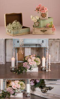 Vintage Boxes and Flowers DIY Wedding Decor | Confetti.co.uk