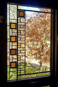 Avery Coonley House Prairie Style Art deco Stained Glass Window by Frank Lloyd Wright, Riverside, Illinois Stained Glass Designs, Stained Glass Panels, Stained Glass Patterns, Leaded Glass, Stained Glass Art, Mosaic Glass, Organic Architecture, Art And Architecture, Wisconsin