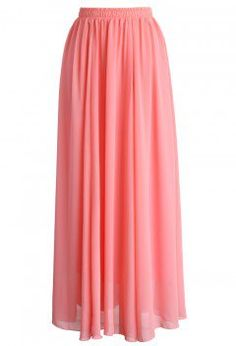 Candy Pink Chiffon Maxi Skirt - Maxi Skirt - Trend and Style - Retro, Indie and Unique Fashion