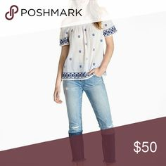 H. P. 🎈🎉Lucky Brand off the  shoulder blouse New with tags. Lucky Brand off the shoulder blouse. Size small. White with blue embroidery.  Body is 100% cotton. Embroidery is 100% polyester. Length approx 19 inches. Arm pit to arm pit approx 19 inches. Lucky Brand Tops Blouses