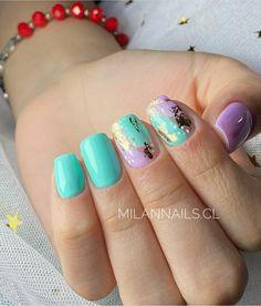 Shellac Nail Designs, Shellac Nails, Nail Art Designs, Nail Polish, Cute Gel Nails, Pretty Nails, Pineapple Nails, Beauty Hacks Nails, Acrylic Gel