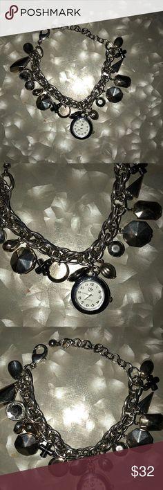 SILVER CHARM BRACELET WATCH Silver Charm Bracelet with Watch➖Never worn!!➖GORGEOUS  Jewelry Bracelets