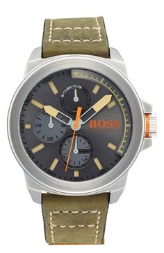 BOSS Orange 'New York' Multifunction Leather Strap Watch, 47mm