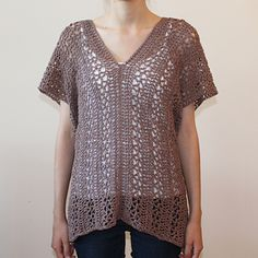 The Vanier V-Neck Tunic is a lacy, oversized tunic with a plunging v-neck. This is a free Ravelry downloadable pattern.