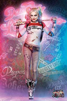 Póster Harley Quinn, cuerpo. Escuadrón Suicida  Póster con la imagen de la gran villana Harley Quinn, basada en la película Escuadrón Suicida.