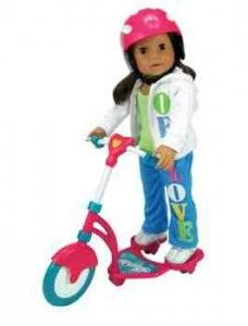 Doll Scooter and Helmet - If you have an American Girl Doll Lover this is a great list of Cheap Accessories like Doll Beds, Brushes, scooters, Clothing and more. A Great Way to save over buying all the name brand items! #americangirl #dolls #christmas