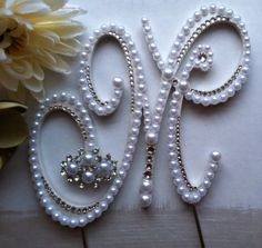 "Pearl Cake Topper Monogram Wedding Cake Topper w/ extra Swarovski Crystals Letter M Destination Wedding ""Dazzling"" design any letter A to Z Monogram Cake Toppers, Custom Cake Toppers, Wedding Cake Toppers, Fancy Letters, Monogram Letters, Pearl Letters, Pearl Cake, Regal Design, Floral Wedding Cakes"
