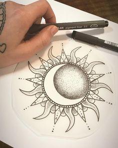 """Rose on Instagram: """"Live by the sun ☀️, Love by the moon 🌙 Wanna Do, noch zu haben 😊 Bei Interesse einfach melden 😊 #mandalatattoo #girlytattoo…"""" Elbow Tattoos, Sun Tattoos, Best Sleeve Tattoos, Girly Tattoos, Body Art Tattoos, Tattoo Arm Designs, Sketch Tattoo Design, Mandala Sun Tattoo, Half Moon Tattoo"""